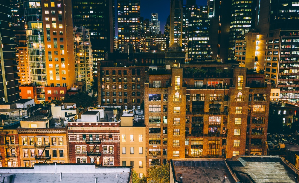 View of buildings in the Turtle Bay neighborhood at night, from a rooftop on 51st Street in Midtown Manhattan, New York..jpeg